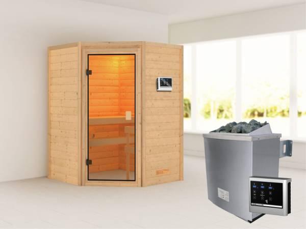 Karibu Sauna Antonia mit 4,5 kW Ofen ext. Strg ohne Dachkranz