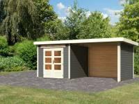 Karibu Gartenhaus Kandern 3 in terragrau mit Anbaudach 3,2 Meter inkl. Rück- und Seitenwand