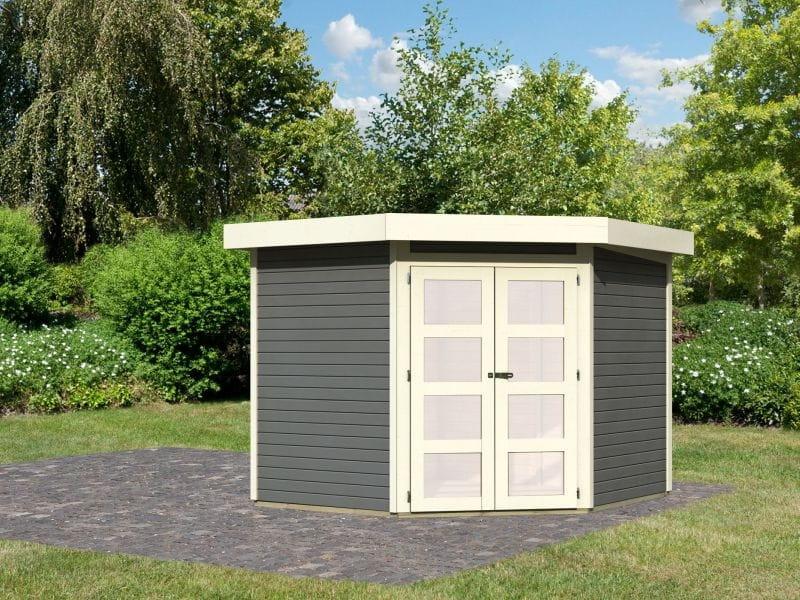 karibu gartenhaus goldendorf terragrau 19 mm kleines. Black Bedroom Furniture Sets. Home Design Ideas