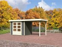 Karibu Gartenhaus Jever 3 in terragrau mit Anbaudach 2,40 Meter