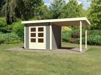 Karibu Woodfeeling Gartenhaus Kandern 3 in terragrau mit Anbaudach 2,35 Meter