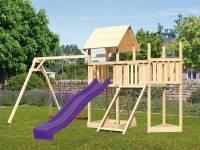 Akubi Spielturm Lotti Satteldach + Schiffsanbau oben + Anbauplattform + Doppelschaukel + Netzrampe + Rutsche in violett