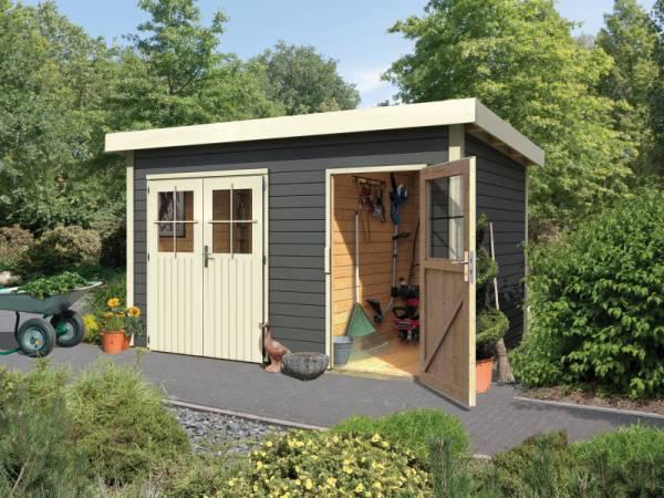 Karibu Gartenhaus Tintrup 2-Raum-Haus in terragrau 28 mm