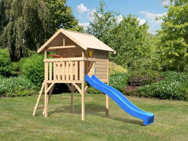 Akubi Spielhaus Leni mit Rutsche in blau und Spielset