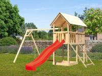 Akubi Spielturm Danny Satteldach + Rutsche rot + Doppelschaukel + Kletterwand