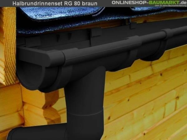 Dachrinnen Set RG 80 braun 400 x 600 cm Walmdach