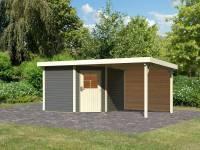 Karibu Woodfeeling Gartenhaus Neuruppin 3 terragrau mit 2,6 m Anbaudach inkl. Rückwand
