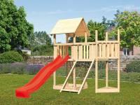Akubi Spielturm Lotti Satteldach + Schiffsanbau oben + Anbauplattform + Netzrampe + Rutsche in rot