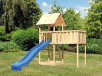 Akubi Spielturm Lotti natur mit Anbauplattform XL und Rutsche blau