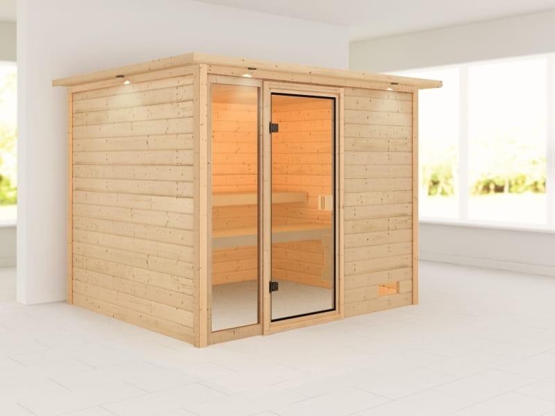 Karibu Woodfeeling Sauna Kiana mit Dachkranz 38 mm