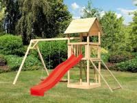Akubi Spielturm Lotti mit Doppelschaukel, Netzrampe und Rutsche rot