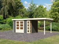 Karibu Woodfeeling Gartenhaus Kerko 5 terragrau mit Anbaudach 2,40 m