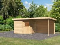 Karibu Woodfeeling Gartenhaus Neuruppin 2 natur mit Anbaudach 3,2 Meter inkl. Rückwand