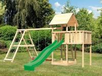 Akubi Spielturm Lotti natur- Anbauplattform- Doppelschaukel inkl. Klettergerüst- Rutsche grün