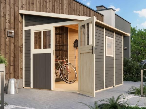Karibu Gartenhaus Bomlitz 3 terragrau 19 mm