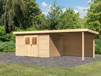 Karibu Gartenhaus Kerpen 5 natur inkl. Anbaudach 3,2 m mit Rückwand