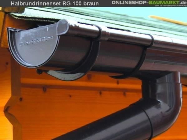 Dachrinnen Set RG 100 braun 600 cm Carport