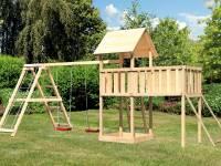 Akubi Spielturm Lotti Satteldach + Doppelschaukelanbau Klettergerüst + Anbauplattform XL + Netzrampe