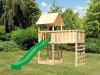 Akubi Spielturm Lotti natur mit Anbauplattform XL, Kletterwand und Rutsche grün