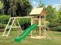 Akubi Spielturm Lotti- Doppelschaukel mit Klettergerüst, Netzrampe und Rutsche in grün