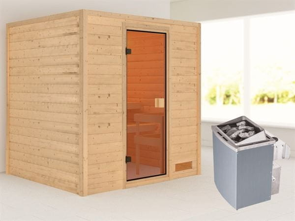 Karibu Sauna Adelina mit 9 kW Ofen integr. Strg 38 mm
