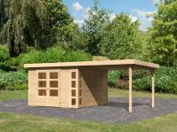 Karibu Woodfeeling Gartenhaus Kerko 6 mit 2,80 m Anbaudach, 19 mm, natur