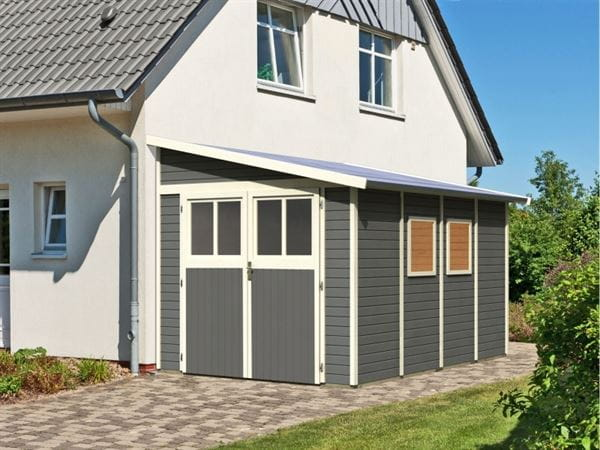Karibu Gartenhaus Bomlitz 4 terragrau 19 mm