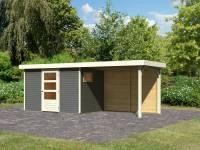 Karibu Woodfeeling Gartenhaus Oburg 4 terragrau mit Anbaudach 2,8 Meter inkl. Rückwand