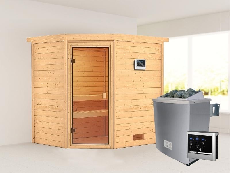 Karibu Sauna Elea mit 9 kW Ofen ext. Strg 38 mm