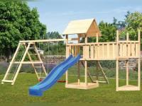 Akubi Spielturm Lotti Satteldach + Schiffsanbau oben + Doppelschaukel mit Klettergerüst + Anbauplattform XL + Netzrampe + Rutsche in blau