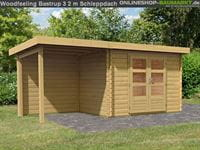 Karibu Woodfeeling Gartenhaus Bastrup 3 mit Schleppdach 2 Meter Rück- und Seitenwand