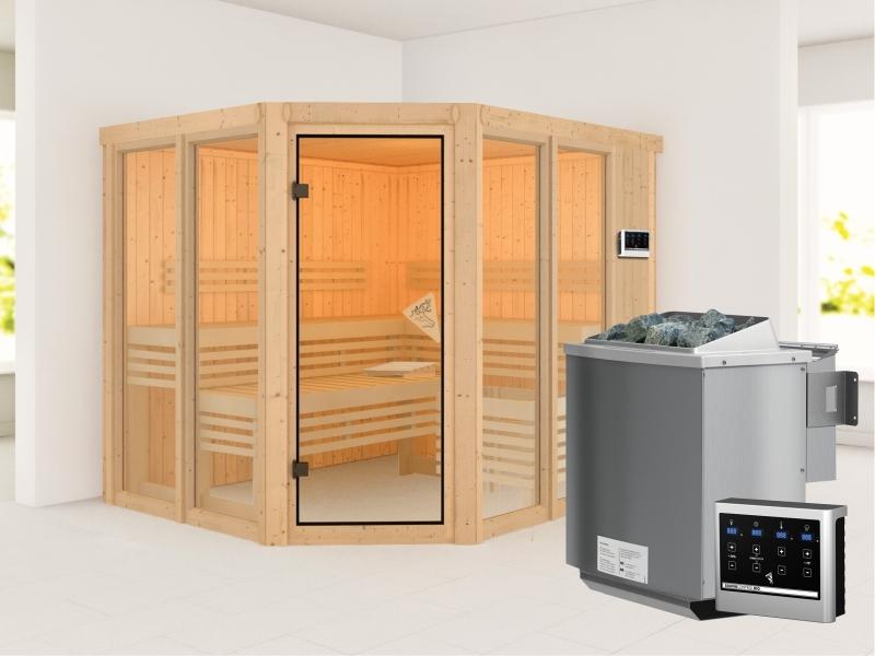 Karibu Sauna Ainur mit 9 kW Bioofen Ext. Strg  68 mm