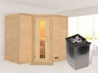 Karibu Sauna Sahib 2 inkl. 9-kW-Ofen mit interner Steuerung, ohne Dachkranz, mit energiesparender Saunatür