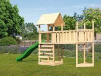Akubi Spielturm Lotti Satteldach + Schiffsanbau oben + Anbauplattform XL + Kletterwand + Rutsche in grün