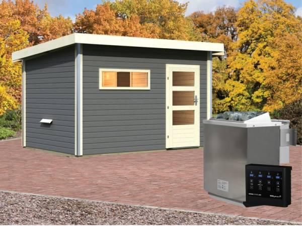 Karibu Aktionssaunahaus Erik 3 38 mm mit 9 kW BIO-Ofen ext. Strg. terragrau