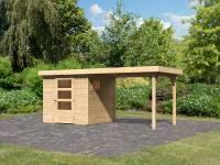 Karibu Woodfeeling Gartenhaus Oburg 2 natur mit Anbaudach 2,8 Meter