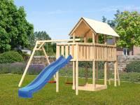 Akubi Spielturm Danny Satteldach + Rutsche blau + Doppelschaukel + Anbauplattform