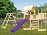 Akubi Spielturm Lotti Satteldach + Schiffsanbau oben + Anbauplattform + Doppelschaukel mit Klettergerüst + Kletterwand + Rutsche in violett