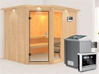 Fiona 3 - Karibu Sauna inkl. 9-kW-Ofen - mit Dachkranz -