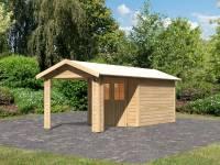 Karibu Gartenhaus Espelo 4 natur mit einem Dachausbauelement 2,70 m
