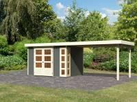 Karibu Woodfeeling Gartenhaus Kerko 4 in terragrau mit Anbaudach 2,80 m