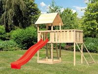 Akubi Spielturm Lotti natur mit Anbauplattform XL, Netzrampe und Rutsche rot