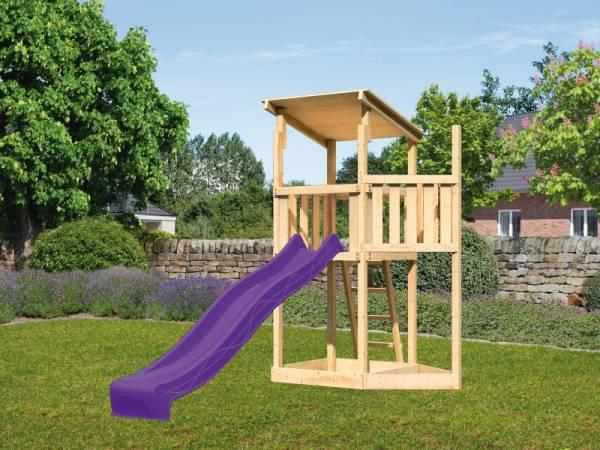 Akubi Spielturm Anna + Rutsche violett + Schiffsanbau oben