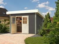 Karibu Gartenhaus Moosburg 2 terragrau mit klassischer Tür