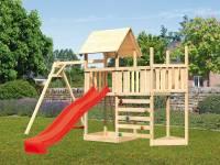Akubi Spielturm Lotti Satteldach + Schiffsanbau oben + Anbauplattform + Einzelschaukel + Kletterwand + Rutsche in rot