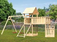 Akubi Spielturm Lotti + Schiffsanbau unten + Anbauplattform XL + Doppelschaukel + Netzrampe