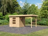 Karibu Woodfeeling Gartenhaus Oburg 2 natur mit Anbaudach 2,4 Meter