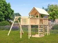 Akubi Spielturm Danny Satteldach + Doppelschaukel + Anbauplattform XL + Kletterwand