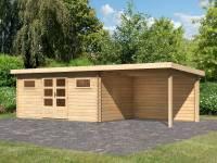 Karibu Gartenhaus Bastrup 10 inkl. Fußboden und Anbaudach 3 m inkl. Rückwand
