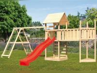 Akubi Spielturm Lotti Satteldach + Schiffsanbau oben + Doppelschaukel mit Klettergerüst + Anbauplattform XL + Kletterwand + Rutsche in rot
